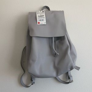 Zara grey leather backpack
